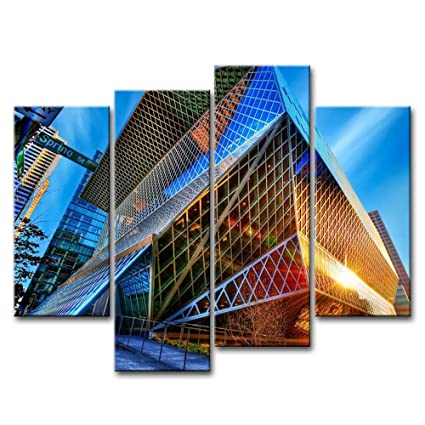 Amazon Com So Crazy Art 4 Piece Wall Art Painting Seattle Modern