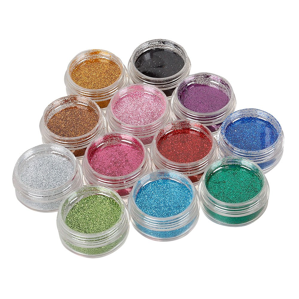 BMC 12pc Party Fun Temporary Fashionable Multi-Color Glitter Shimmer Tattoo Body Art Design Kit with Stencils, Glue and Brushes by b.m.c (Image #3)
