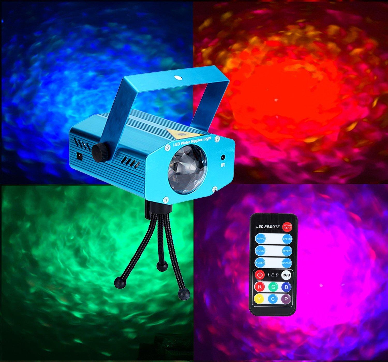 Sumger 9-watt Led Stage Light Ocean Wave Effect Rapple Projector Lighting With Tripod Halloween Christmas Rgb Led Par Light Lighting with Remote For DJ Bar Karaoke Xmas Wedding