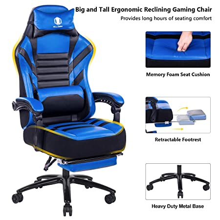 KILLABEE Big Tall 400lb Memory Foam Reclining Gaming Chair Metal Base – Adjustable Back Angle and Retractable Footrest Ergonomic High-Back Leather Racing Executive Computer Desk Office Chair, Blue