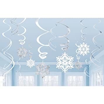 Delicieux Snowflakes Silver U0026 White Ceiling Swirls Dangling Christmas Decorations  (Pack Of 12 Swirls)