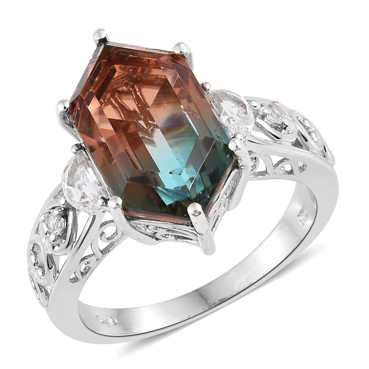 925 Sterling Silver Platinum Plated Fancy Aqua Terra Costa Quartz, White Topaz Gift Ring For Women Size 8