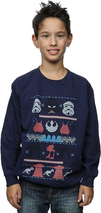 Star Wars Mens Dark Side Fair Isle Christmas Sweater L Blue