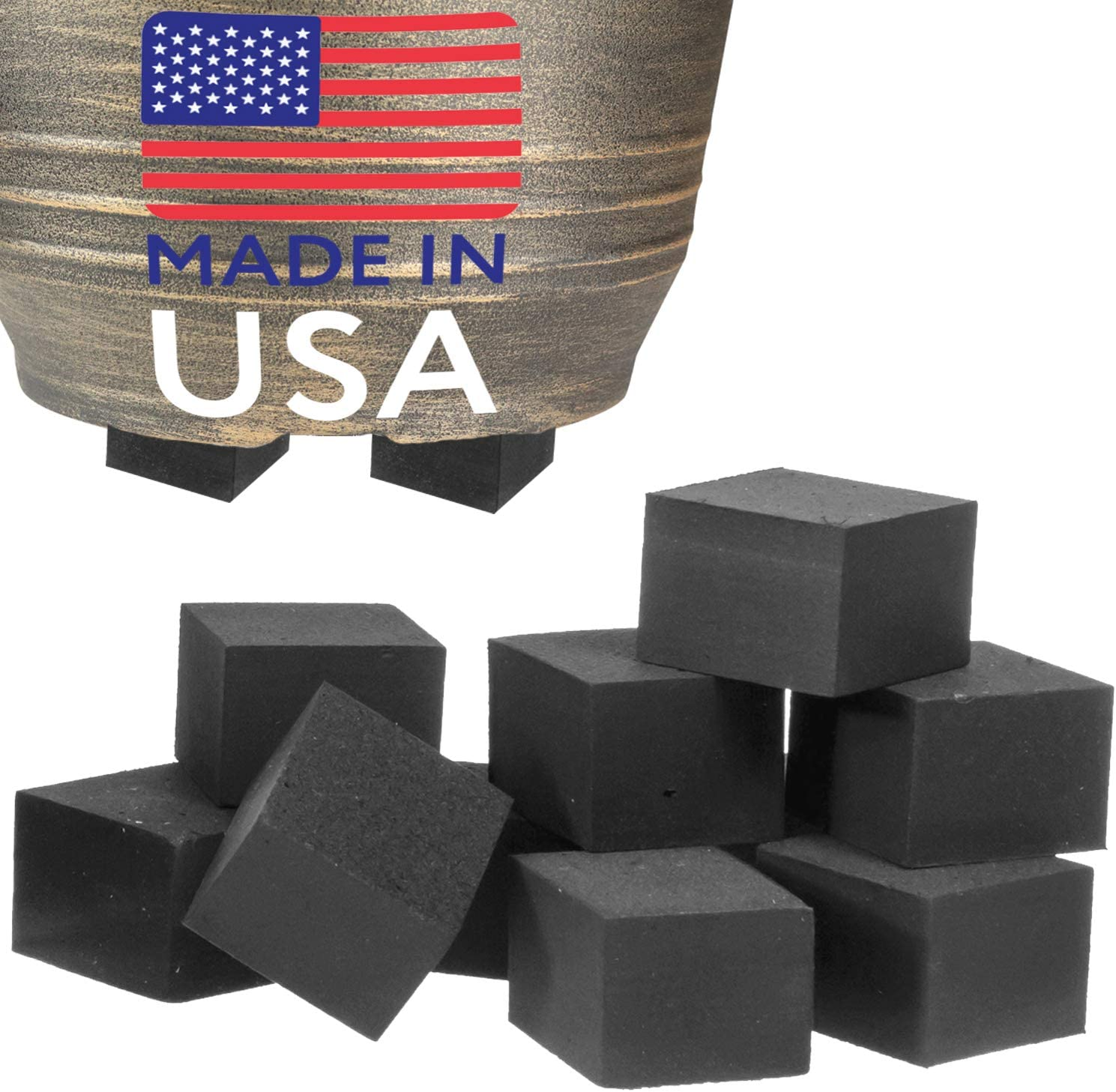 40 Pack Pot Feet for Outdoor Planters – Small Invisible Plant Risers for Small and Medium Sized Heavy Pots – 3 4 Elevators – Work Great On Patio and Deck Use – Made in USA