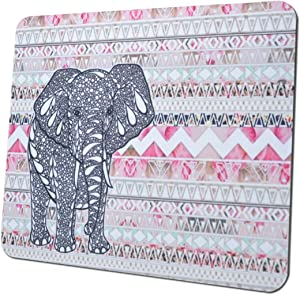 Gaming Mouse Pad Mat, 8 inch Non-Slip Rubber Mousepad , Silky Smooth Surface Edges for Computer ,Laptop& PC, 8 × 9 x 0.1 inches Rectangle,Elephant in Pink