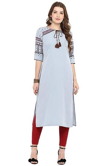 5ed4d2ab2f2 Janasya Indian Tunic Tops Crepe Kurti for Women at Amazon Women s ...