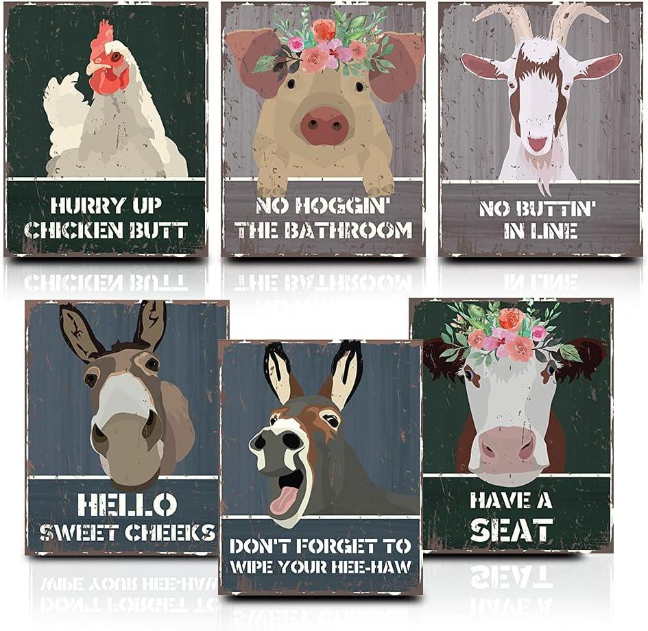 Funny Bathroom Wall Art | 8x10 Unframed Set of 6 Farm Bathroom Decor Prints | Hello Sweet Cheeks Bathroom Sign | Animals Donkey Poster Pig Goat Chicken Cow Bathroom Decor Country Bathroom Decor Rustic Bathroom Signs Decor Funny Bathroom Art Posters
