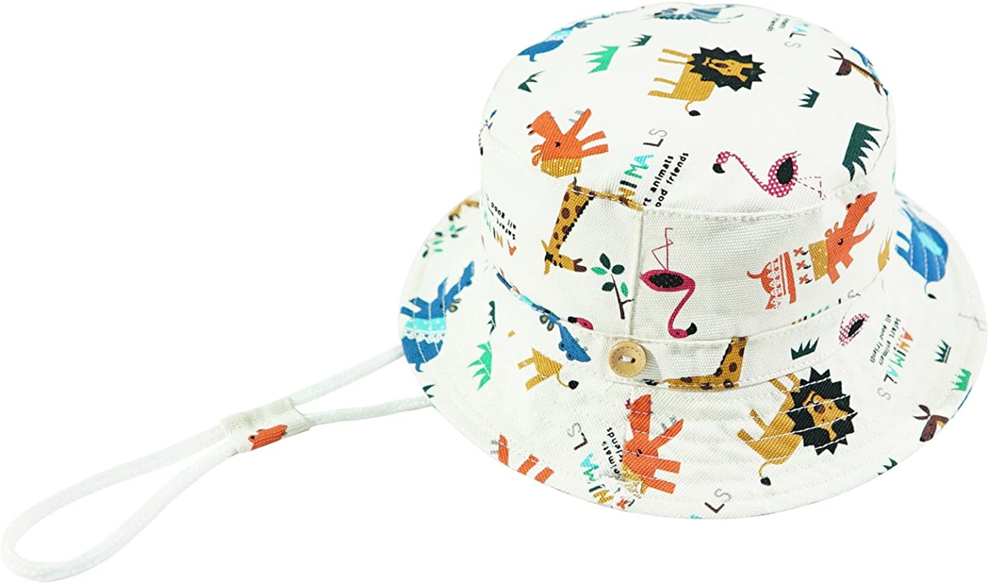 ERISO Toddler Bucket Hat Play Sun Protection Animal Cap Summer Hat with Chin Strap