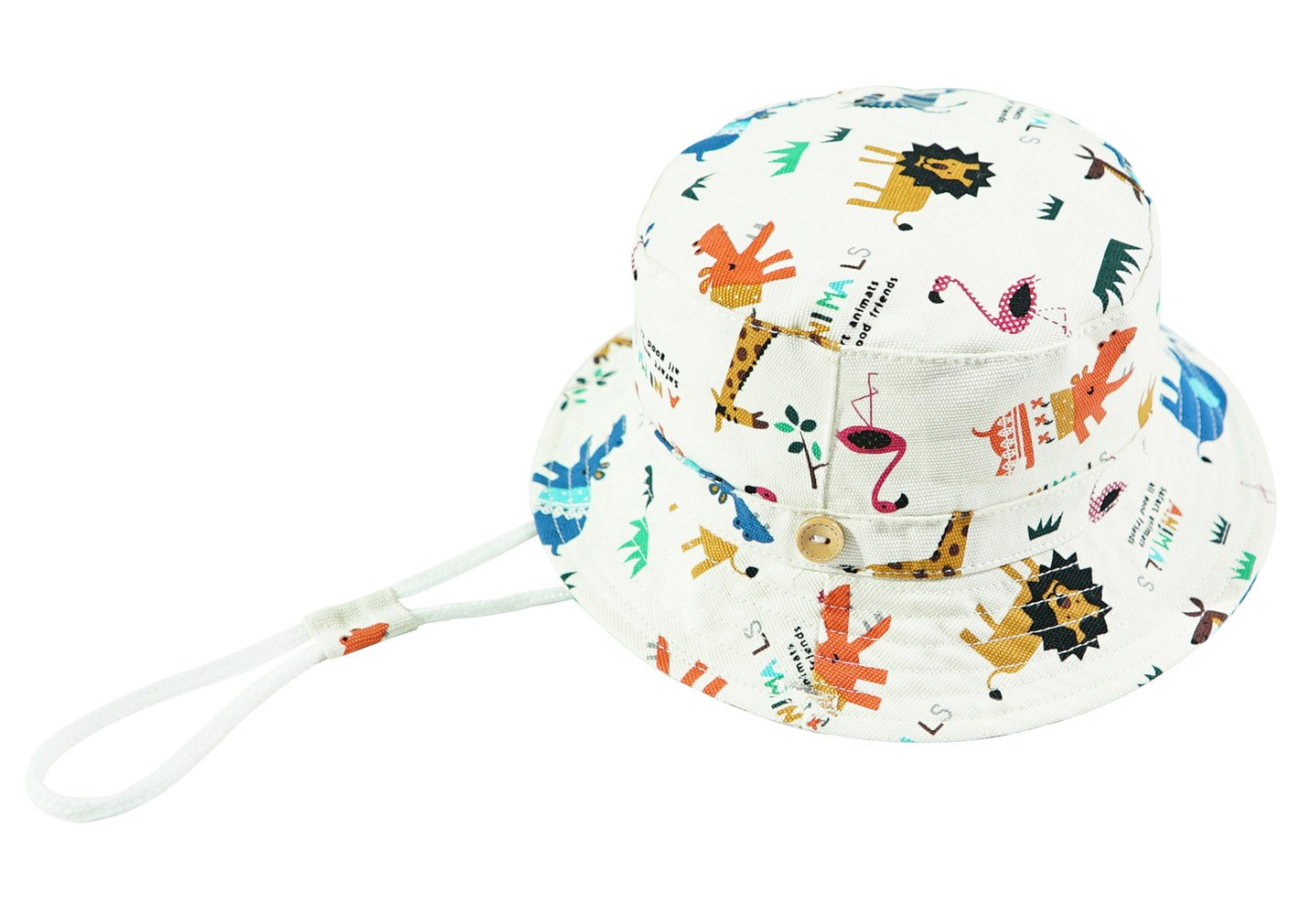 Eriso Toddler Dinosaur Hat Sun Protection Animal Bucket with Chin Strap (12-24 Months, Aniaml Zoo)