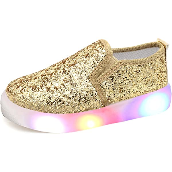Fiaya Kids Toddler Baby Girls Solid LED Luminous Light Up Breathable Running Sport Boots Shoes Sneakers