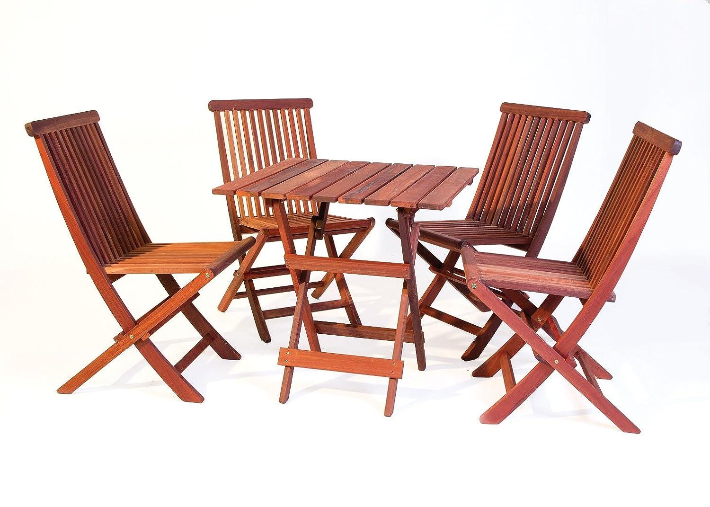 bistro gartenm bel set tisch 70 x 70 cm 4 st hle aus exklusivem mahagoni hartholz klappbar. Black Bedroom Furniture Sets. Home Design Ideas