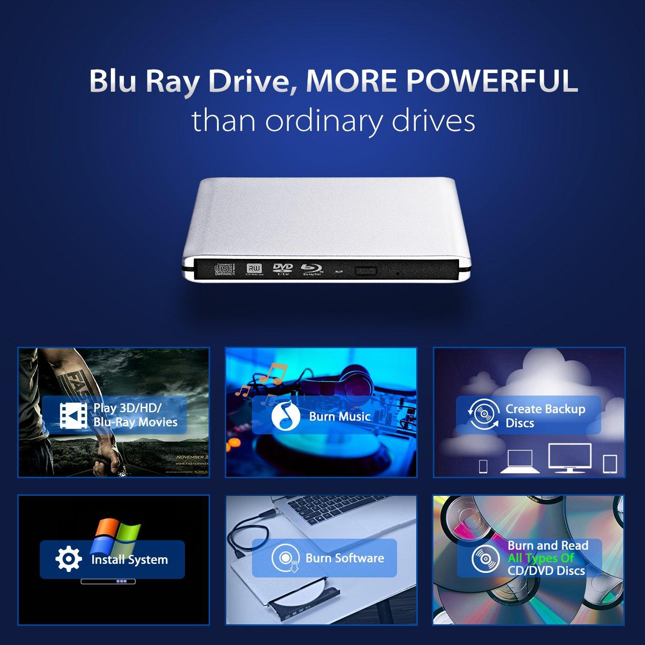 Amazon.com: 4K External Blu Ray Drive, TOPELEK USB3.0 Hard CD/DVD Burner/Writer, 3D 6X Blu-Ray Disc Playback, Slim & Super-Fast for Windows, Mac OS Laptop, ...