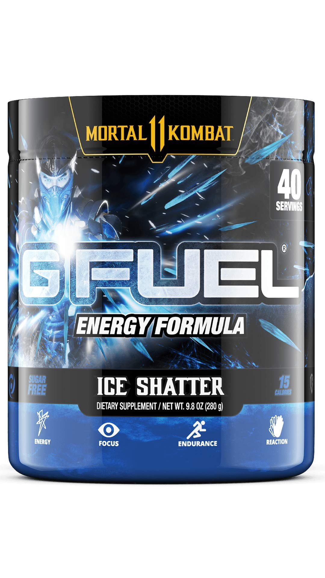G Fuel Sub Zero's Ice Shatter (40 Servings) Elite Energy and Endurance Powder 9.8 oz. (Inspired by Mortal Kombat)
