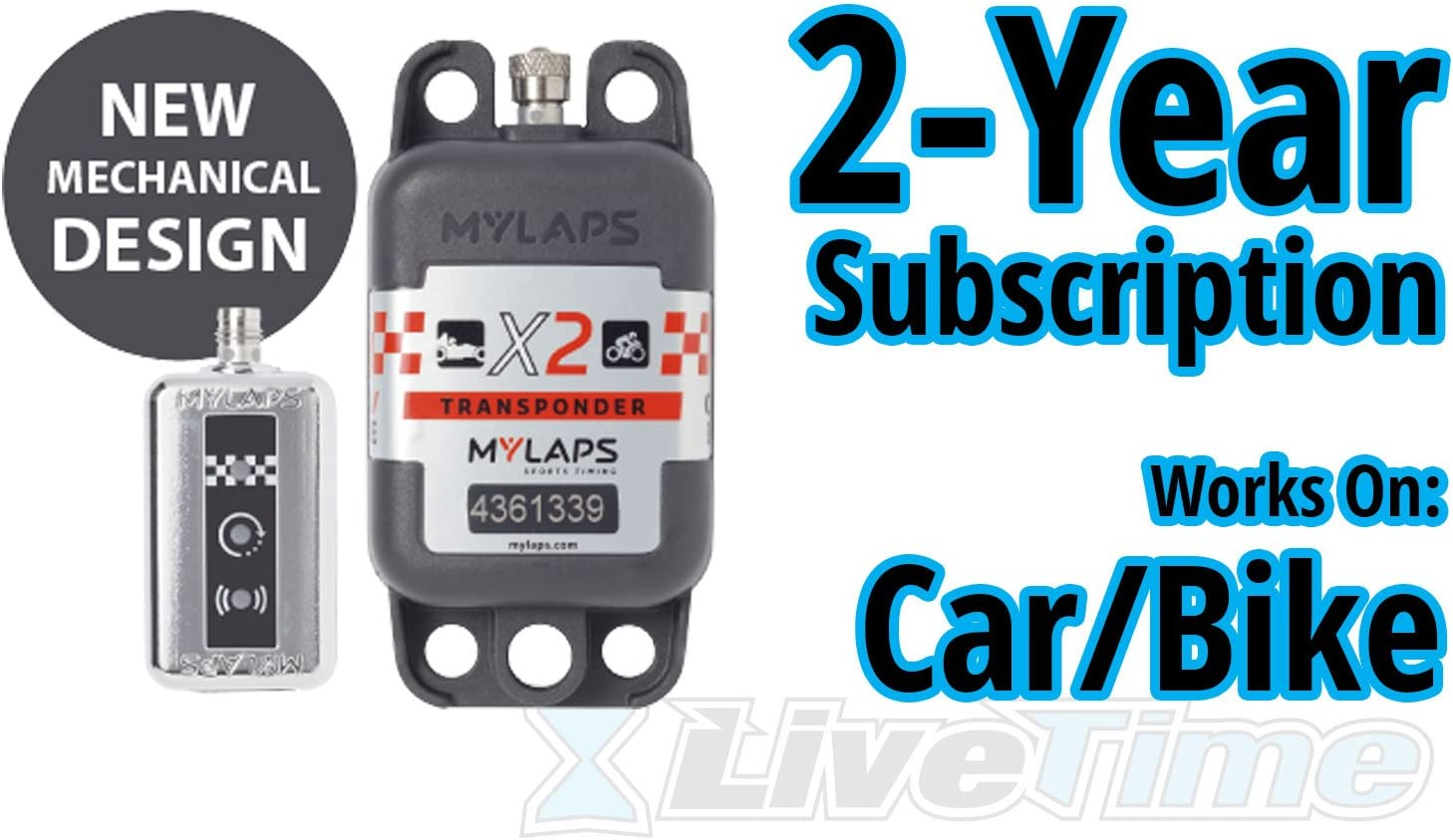 MyLaps X2 Transponder, Rechargeable, for Car Bike, includes 2-Year Subscription