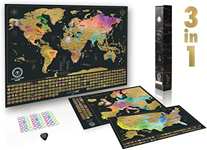 Paquete definitivo de mapa de rascar (acuarela mapa del mundo, de ...