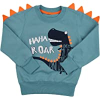 Little Hand Boys Dinosaur Printed Sweatshirt For Kids,Long Sleeve Cartoon T-shirts Pullover Jumpers For Toddler 2-8 Years
