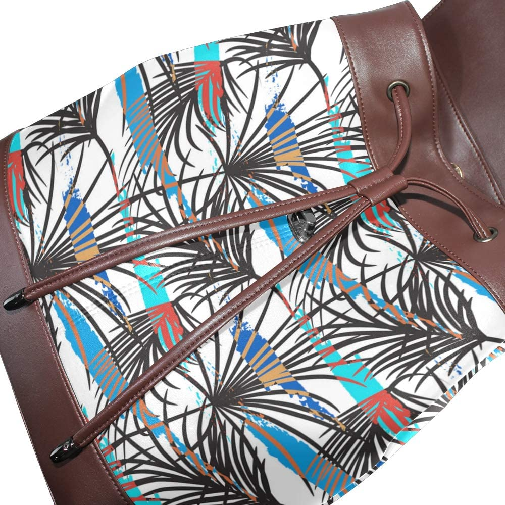 Fashion Shoulder Bag Rucksack PU Leather Women Girls Ladies Backpack Travel Bag Gray Tropical Leave Phone Case