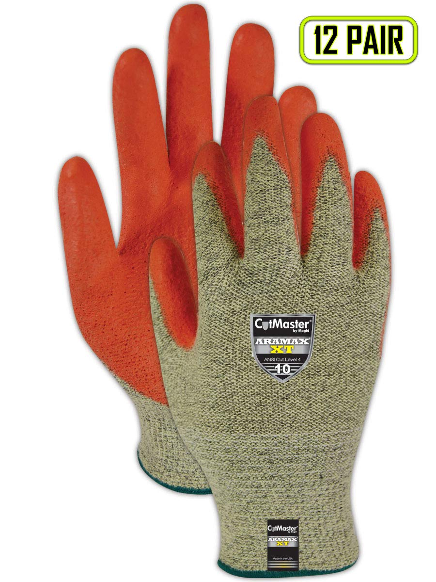 Magid Glove & Safety AX300HV-7 Magid Cut Master Aramex XT AX300HV Gloves with PU Palm Coating - Cut Level 4, 6, Yellow, 7 (Pack of 12)