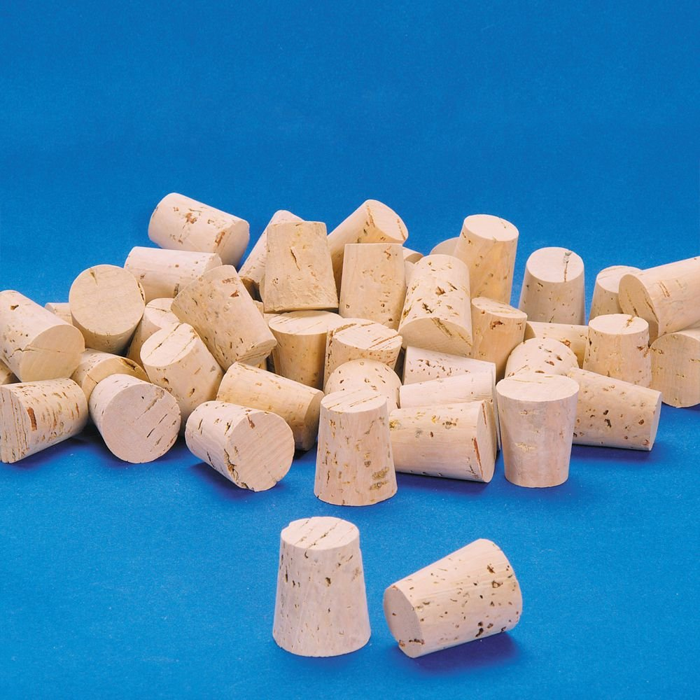 XXXX Quality Cork Stoppers, Size 17, Top: 36 mm, Bottom: 30 mm, Pack of 100 by Carolina Biological Supply Company
