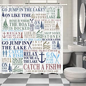 """Funny Motivational Quotes Life Is Better At The Lake Shower Curtain, Lake Rules Relax Go Fishing Gather with Family Quote on Rustic Wooden for RV Camping Travel Bathroom Curtains Decor, (47""""WX64""""H)"""