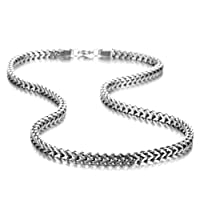 Stunning Mechanic Style Stainless Steel Silver Men's Necklace Link Chain (With Branded Gift Box)