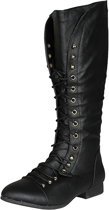 Amazon.com | COCO 39 Women Military Lace Up Knee High Combat Boot