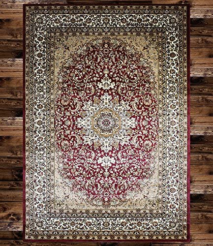 KILIM Boho Bohemian Burgundy Isfahan Vintage Style K603 Area Rug Clearance Soft and Durable Pile. Size Option , 5 X7