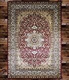 "KILIM 8D-0LBA-TFJU Boho Bohemian Burgundy Isfahan Vintage Style K603 Area Rug Clearance Soft and Durable Pile. Size Option (3′.7"" X 5′), 3′.7"" X 5′ Review"