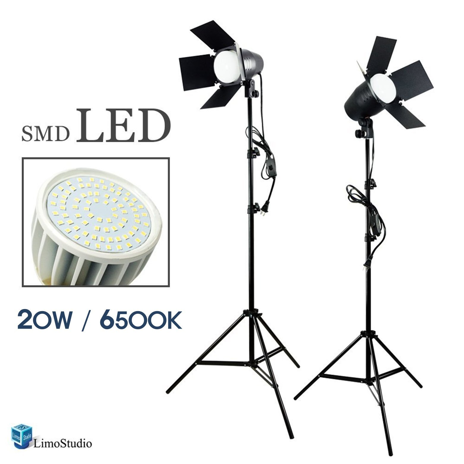 LimoStudio LED Day Light Bulb 2 pcs x Continuous Barndoor Light Stand Kit for Photography Photo Studio by LimoStudio