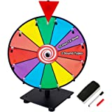 Klvied 12 Inch Heavy Duty Prize Wheel, 12 Slot Tabletop Color Spinning Wheel with 2 Model Clicker, Carnival Spin Wheel…