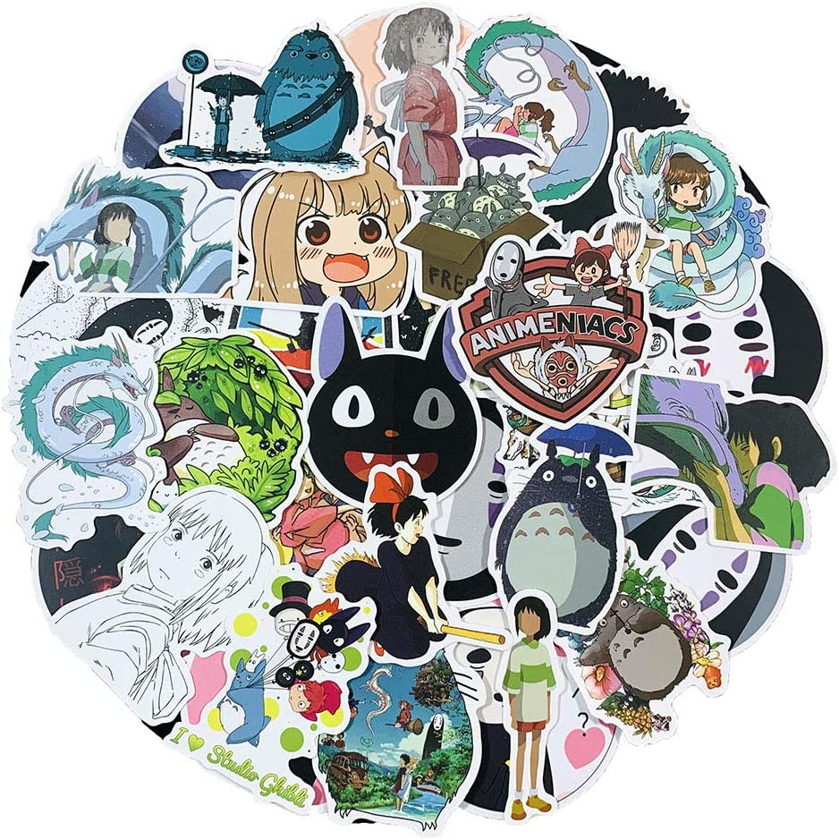 100 Pcs My Neighbor Totoro Anime Stickers Miyazaki Hayao No Face Man Spirited Away Stickers for Water Bottle Laptop Computer Car Bumper Japan Cartoon Theme Waterproof Vinyl Stickers for Kids Teen Girl