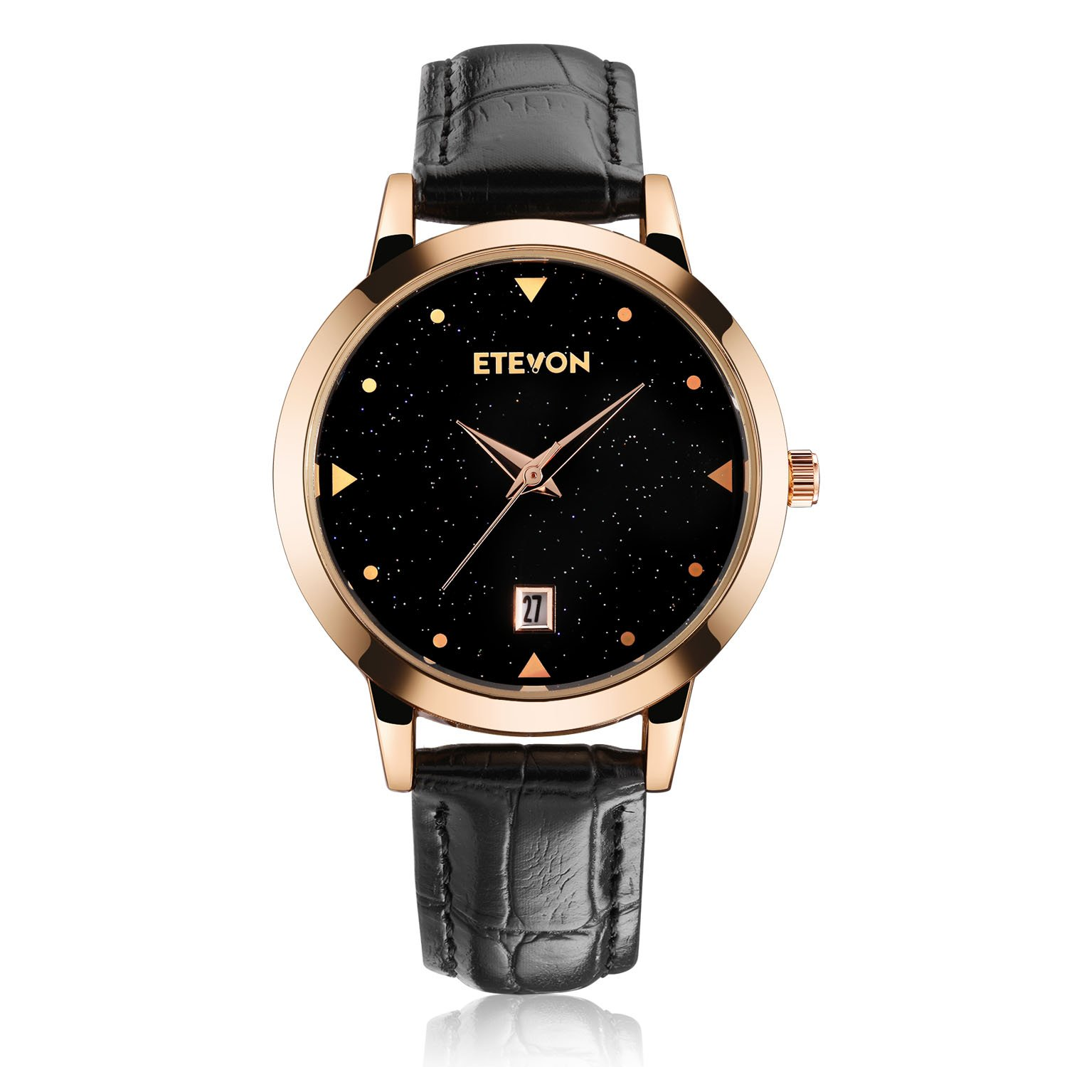 ETEVON Women's Quartz Analog Watch with Starlight Dial with Date, Black Leather Band and Rose Gold Case, Fashion Casual Dress Wrist Watches for Ladies