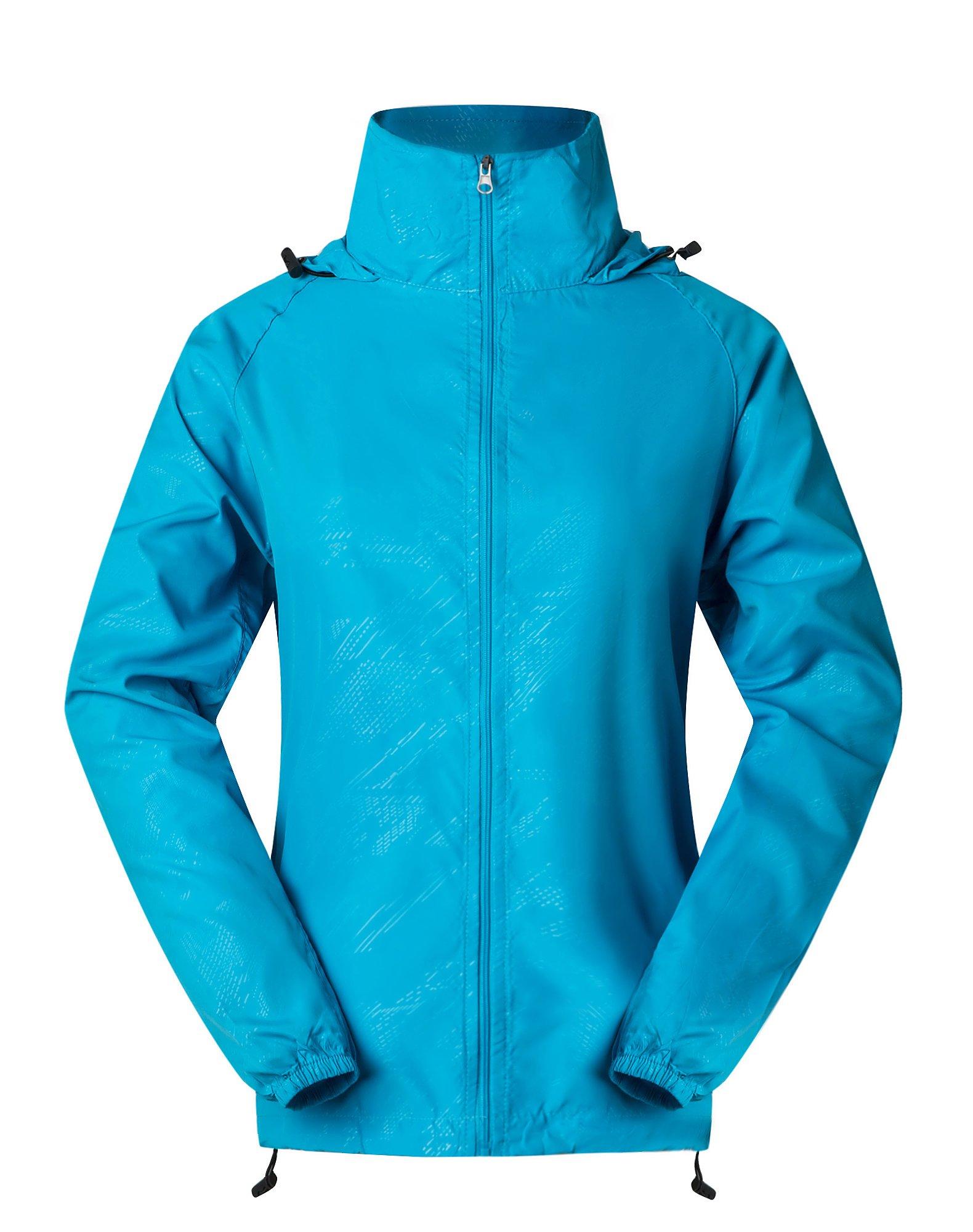 Cheering Spmor Women's Lightweight Jackets Waterproof Windbreaker Jacket UV Protect Running Coat S