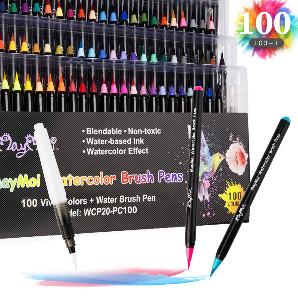 MayMoi Watercolor Brush Pens, 100 Colors Watercolor Markers & 1 Water Brush Pen for Drawing, Coloring and Calligraphy (Non-Toxic & Acid-Free) by MayMoi