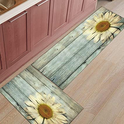 Kitchen Rugs Sets 2 Piece Kitchen Floor Mats Non-Slip Rubber Backing Area  rugs Wooden Board Sunflower Doormat Rubber Backing Washable Carpet Inside  ...
