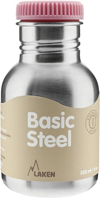 LAKEN Basic Steel Bouteille deau en Acier Inoxydable Gourde pour Enfants et Adultes avec Bouchon en Acier Inoxydable et Bambo