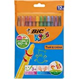 BIC 8805082 Kids Turn & Colour Crayons - Assorted Colours, Pack of 12