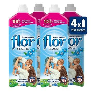 Flor Classic Azul Suavizante de Ropa Concentrado - 72 lavados [Pack de 4, Total 288 dosis]: Amazon.es: Salud y cuidado personal