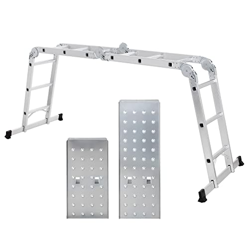 Songmics Echelle Aluminium Pliante Multifonction avec 2 panneaux Résistant à 150 kg Conforme aux normes EN131 et testé par TÜV Rheinland GS GLT36M