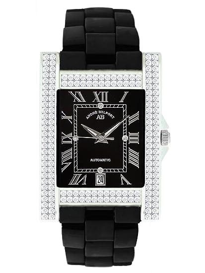 André Belfort 410120 - Reloj analógico de mujer automático con correa de cerámica negra - sumergible