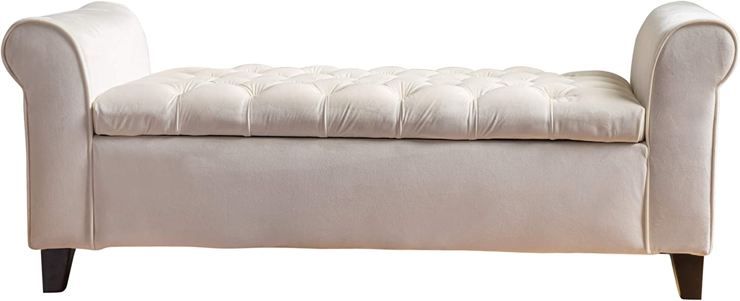 Christopher Knight Home Keiko Velvet Armed Storage Bench, Ivory