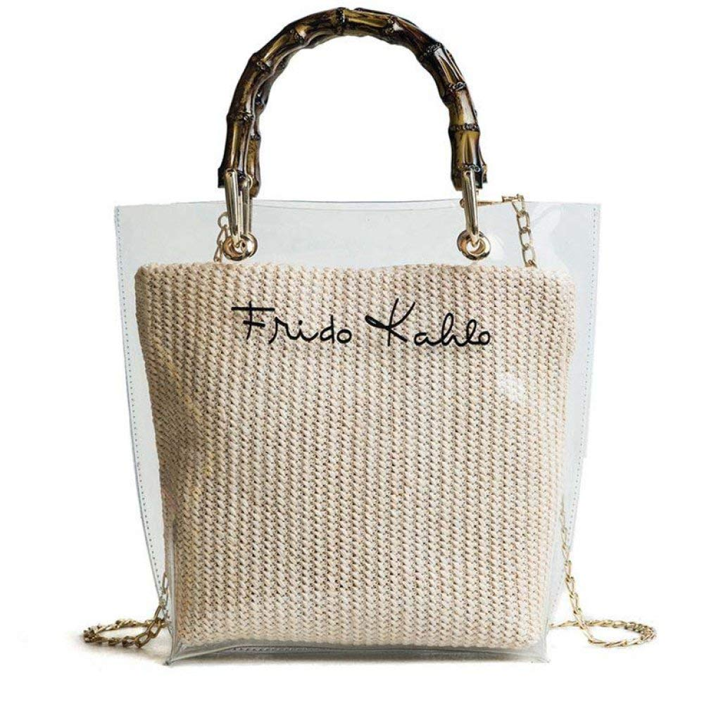 Beige Summer Large Handbag Transparent Women Totes Chain Straw Lady Travel Beach Shoulder Cross Body Bag