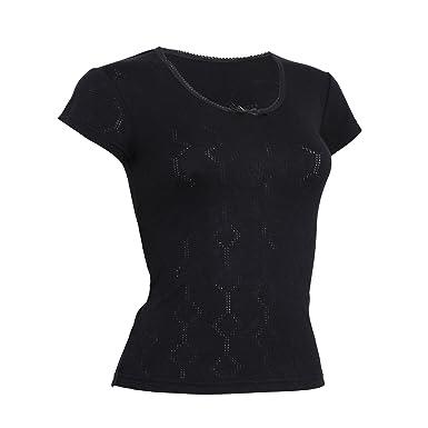 1b1992613aee01 FLOSO - T-shirt thermique à manches courtes - Femme (Poitrine 117-122cm  (FR50-52)) (Noir)  Amazon.fr  Vêtements et accessoires