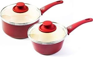 GreenLife CC002560-001 Soft Grip Ceramic Saucecpan, 1QT & 2QT, Red