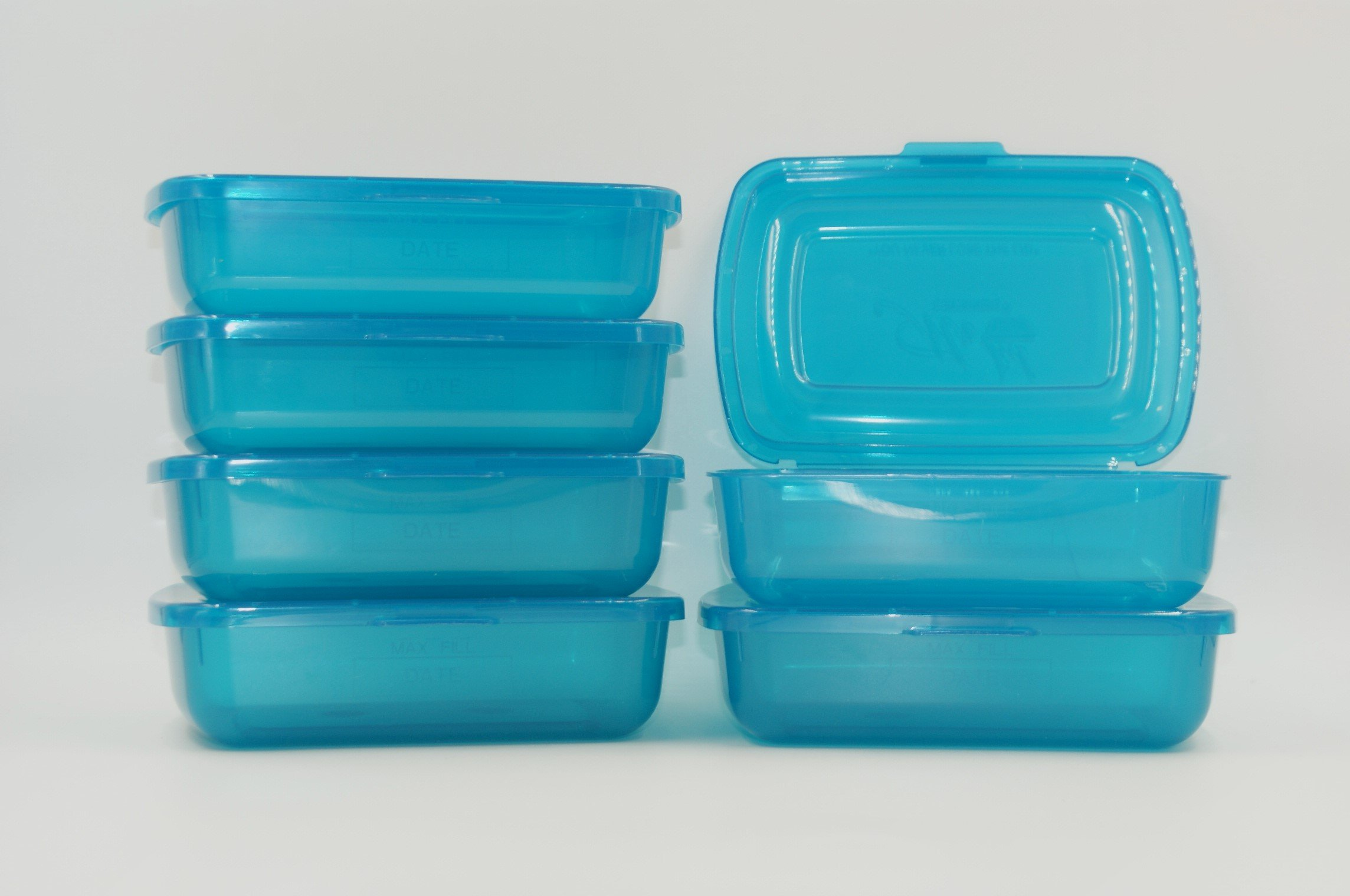 Mr Lid Premium Food Storage Container with Attached Lid - BPA Free - Dishwasher-Safe, Sandwich Container (19oz) 6 Count - Blue