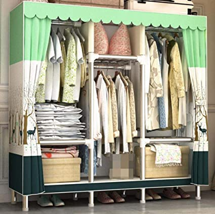YANFAMING Closet Storage,Thickened Reinforced Steel Pipe Assembly Simple  Portable Wardrobe, Polyester Cotton Cloth