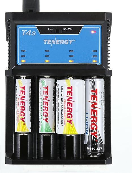 Amazon.com: Tenergy T4S 4-Bay Cargador Universal inteligente ...