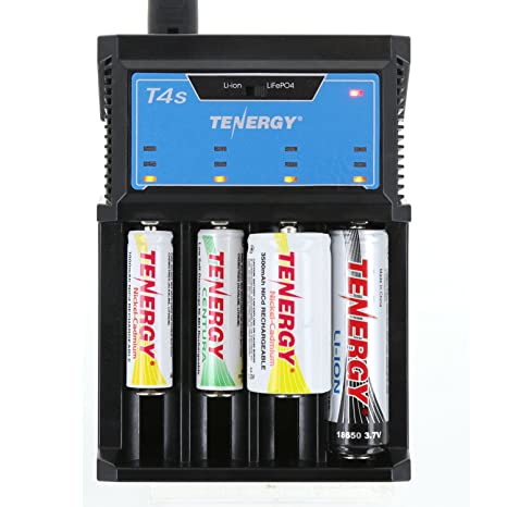 Amazon.com: Tenergy T4S 4-Bay Cargador Universal inteligente ...
