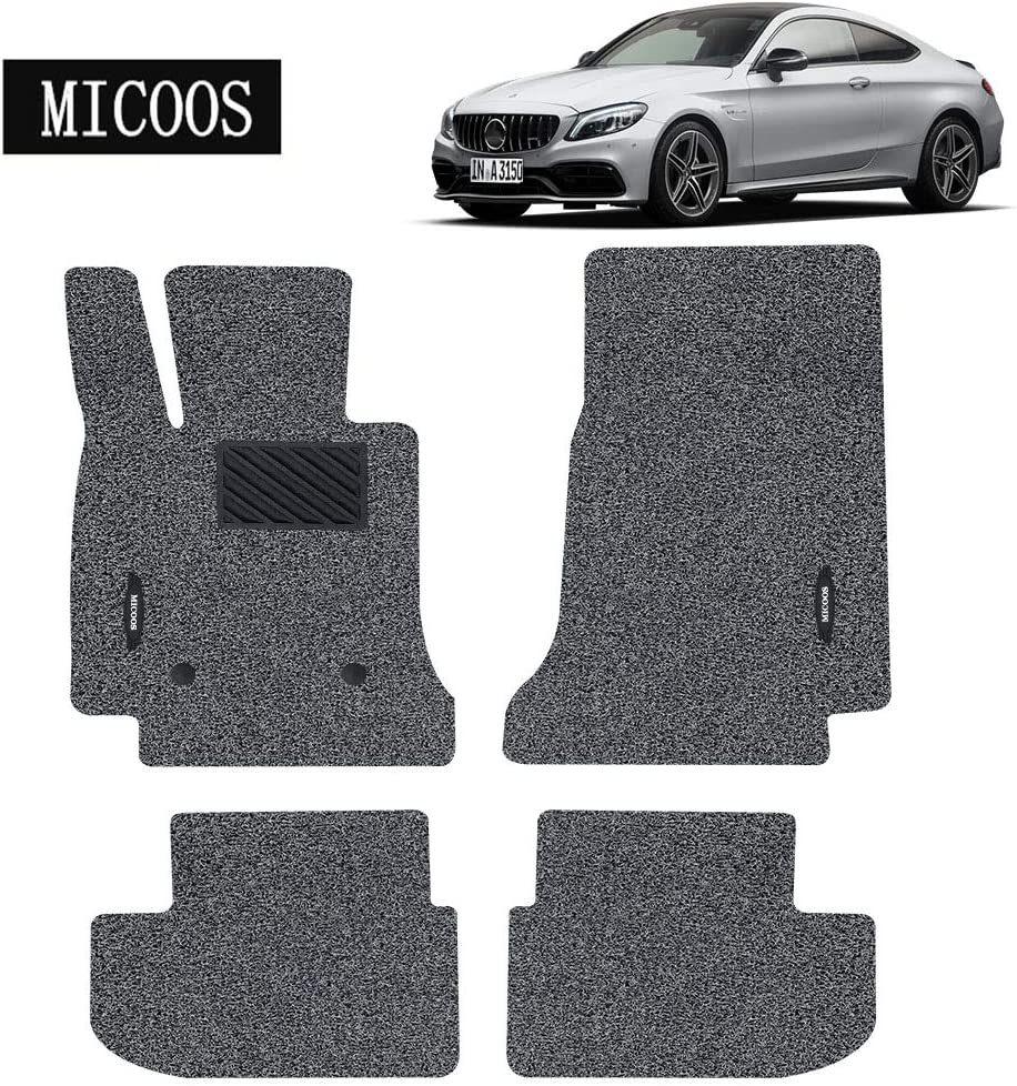 MICOOS Compatible with Car Floor Mat Carpet for Mercedes-Benz C-Class Coupe 2016-2020 C205 Black All Weather Heavy Duty Floor Mat Set Waterproof Stain-Resistant