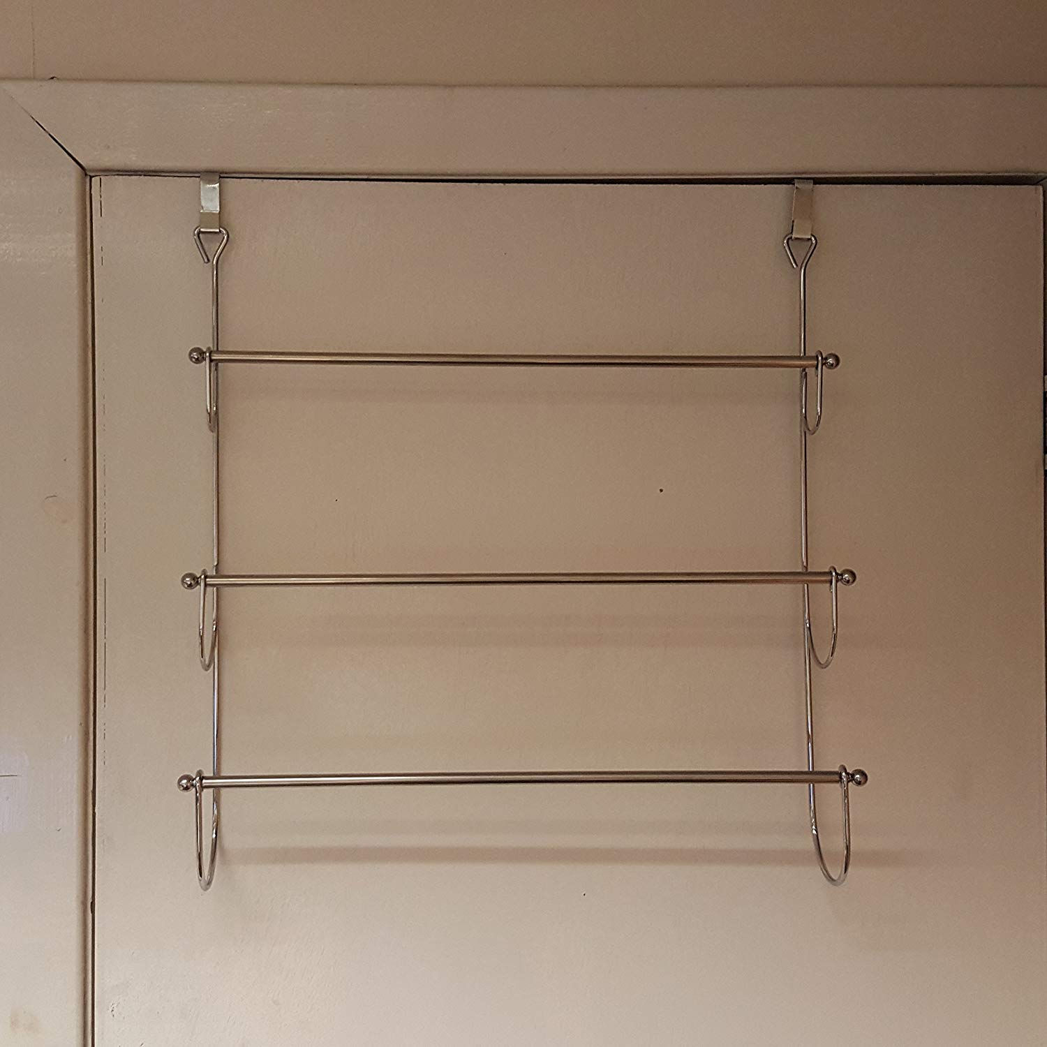 FunkyBuys® 3 Tires Over The Door Chrome Kitchen Or Bathroom Towel Rail Rack, Bedroom Cloth Hanger Organizer Caddy (SI-HH1003)